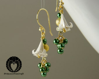 Origami Jewelry, Origami Lily Earrings - White lily and deep green glass pearl
