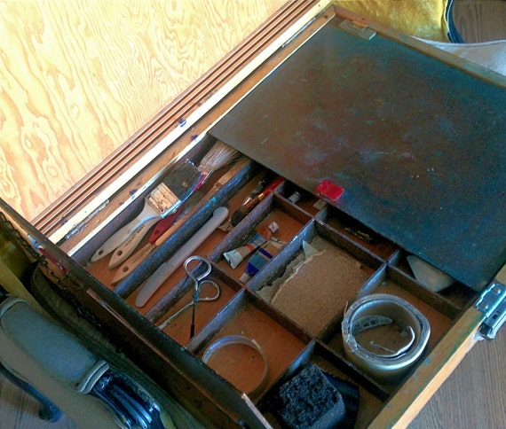 Mid Century Modern Vintage Art Supply Box Portable Student Artist Easel Painter's Tool Case Collectibles Carrying Case Traveling Display