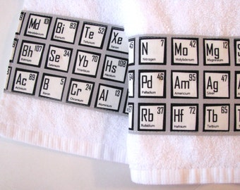 Bath Towels, science, chemistry, nerd, geek, august ave, periodic table, geekery, towels, bathroom, you pick the size, custom towels