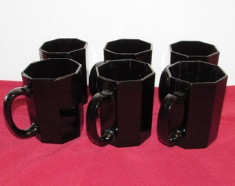 ARCOROC OCTIME MUGS Black Octagon Cups France Set of 6