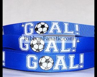"SALE 25% OFF!! 5 yds 7/8"" Glitter Soccer Ball GOAL on Bright Electric Blue Grosgrain Ribbon"