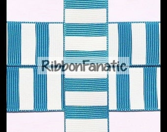 """5 yds 7/8"""" Teal and White Candy Stripe Grosgrain Ribbon"""
