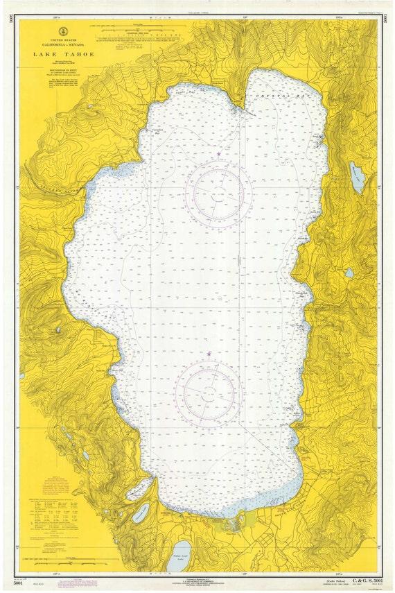 Lake tahoe 1971 nautical map reprint california for Lake tahoe jewelry stores