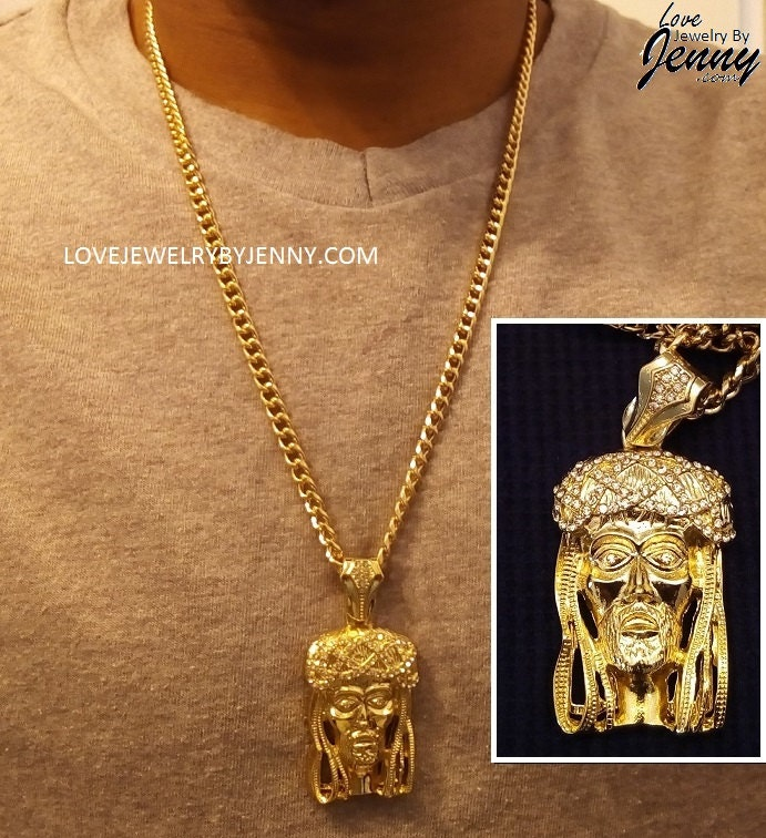 14K Gold Overlay 2.25 Iced Out Jesus Head Charm w/