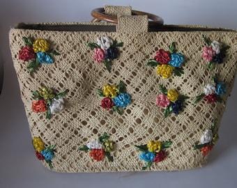 Vintage Floral Straw Handbag 1960's?