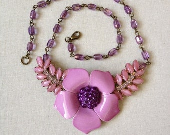 Necklace, Lilac floral necklace, floral collage, vintage enamel flower, flower power, upcycled, purple, repurposed, brooch necklace
