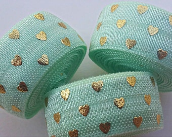 5/8 MINT with Gold Polka Hearts Fold Over Elastic