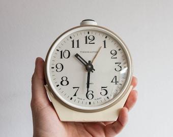 Mechanical Alarm Clock, Large Desk Clock, Timemaster, Made in Europe, Beige Tan White