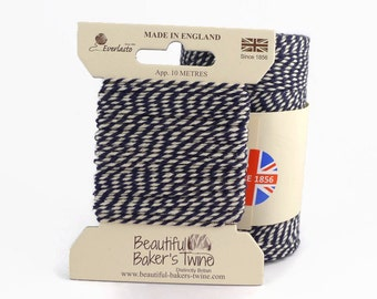 Navy Baker's Twine 10m - Blue & White Packaging String
