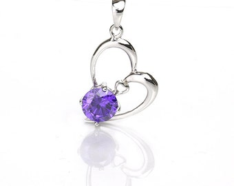 Heart Pendant with Purple Zircon, 925 Sterling Silver Jewelry, Pkg of 1pc, CB072
