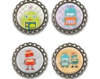 Robot Bottle Cap Magnets, Bottlecap magnets,  fridge magnets, refridgerator magnets, Birthday Gift, Set of 4.