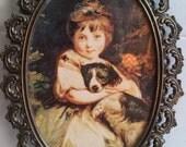 Girl and Dog Photo Print Ornate Metal Oval Frame Vintage Italian