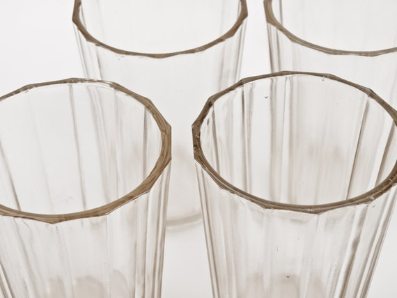 Old style Soviet Glasses GRANYONKA. Beautiful, orginal, vintage, famous USSR glases. Set of 4. Soviet tableware