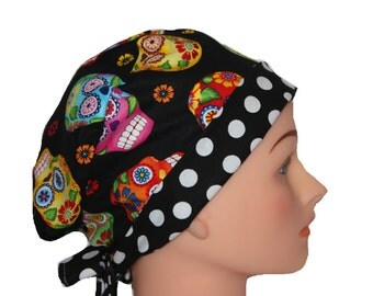 Scrub Hat Surgical Scrub Cap Chemo Nurse Doctor Vet Hat Flirty Pixie Sugar Skull Black Blue Pink Red Orange Yellow Green