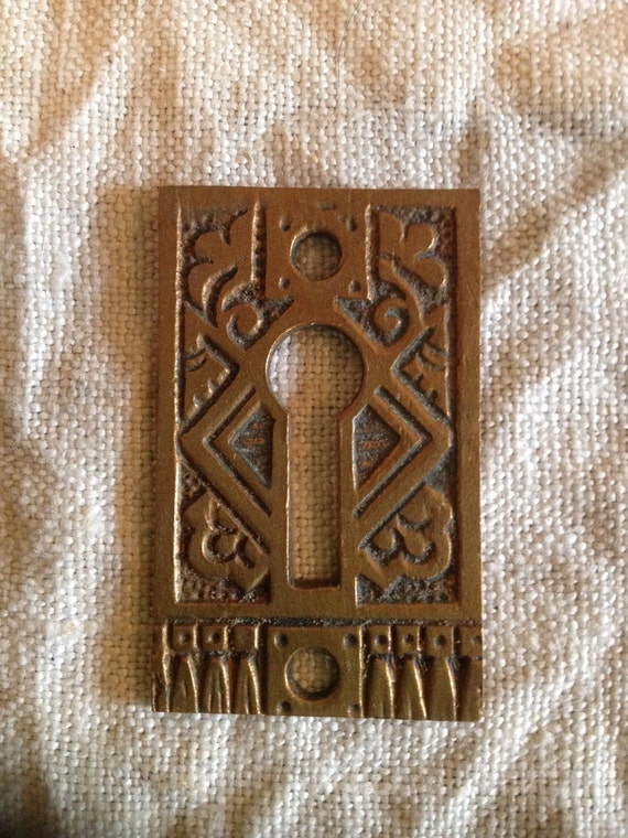 Items similar to vintage antique door key hole plate for Door key design
