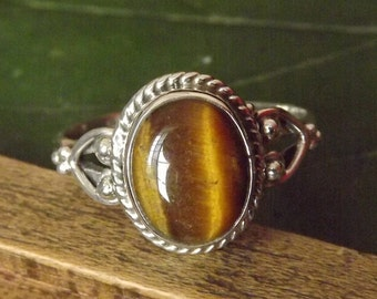 TIger Eye Ring Solid 925 Sterling Silver Pure Handmade Size: Variable (5, 6, 7, 8, 9, 10) Exclusive Budget Ring XL Size available