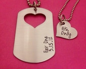 Couples Necklace Set Dog Tag with Heart Cutout Her One His Only Hand Stamped with custom date His and Her Necklace set