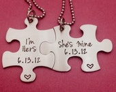 Customizable Puzzle Piece Necklace Set I'm Hers She's Mine LGBT with Date Hand Stamped Custom Necklaces Couples Set