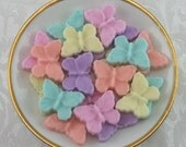 32 Pastel Colored Dainty Butterfly shaped sugar cubes for tea party, bridal shower sugar cubes, wedding sugar cubes, shower sugar cubes