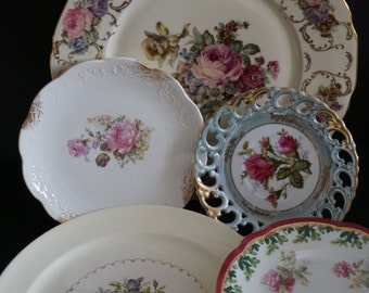 Vintage, Set of five rose plates