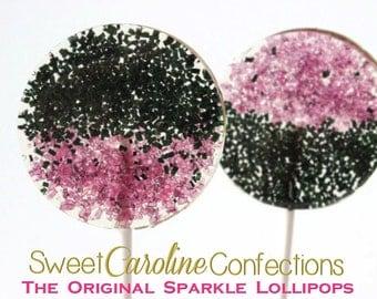 Black and Purple Lollipops, Hard Candy Lollipops, Candy Lollipop,Wedding Lollipops, Lollipops, Sweet Caroline Confections-Set of Six