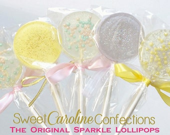 Pastel Sparkle Lollipops, Purple and Yellow Lollipops, Pastel Lollipops, Easter Candy, Easter Lollipops, Pastel Candy-Set of Six