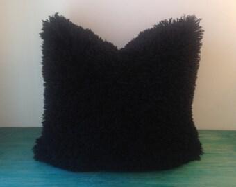 Faux Fur Pillow Cover - Black Mongolian Faux Fur Pillow Cover