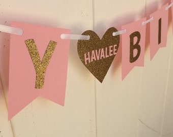 Pink and gold glitter happy birthday banner with heart