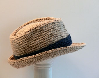 Crochet Pattern - Boy's Hat Fedora Meadowvale Studio Size Baby, Toddler, Boys, Teen, Men's, Men's Large, Men's X Large, Men's XX Large # 110