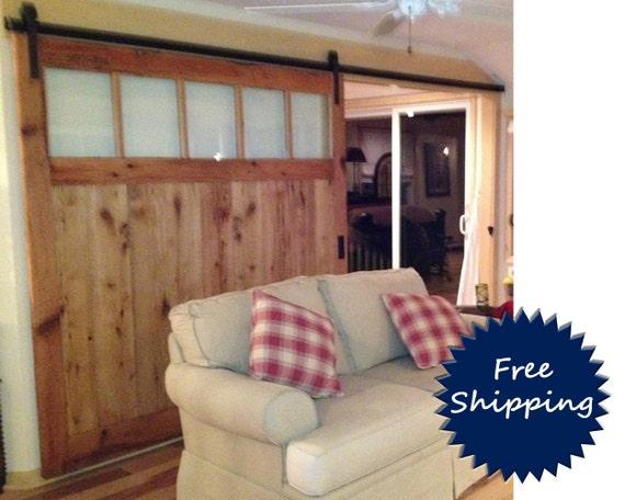 large barn door room divider made to order from reclaimed oak. Black Bedroom Furniture Sets. Home Design Ideas