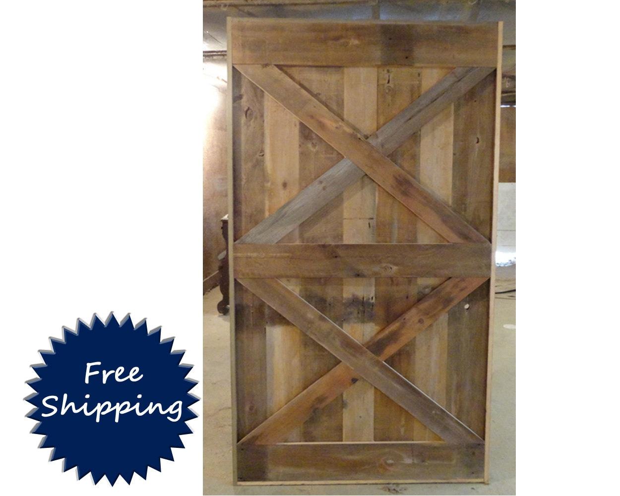 Double x brace barn door room divider made to order from for Barn door room divider