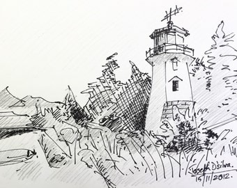 "Lighthouse - Original Sketch - 5""x8.5"" Pen and Pencil on paper"