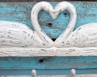 Shabby Chic Swan Wall Decor Antique White  Rustic Metal Housewares