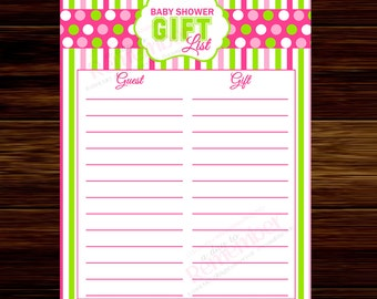 Pink and Green Baby Shower, Gift List Instant Download  - Digital File