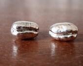 Coffee sterling silver stud earrings, handmade  silver studs, great coffee gift - coffee bean earrings