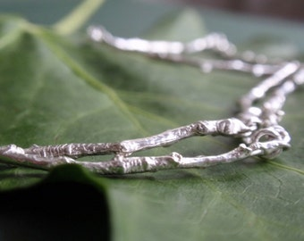 Sterling silver twig necklace, sterling silver necklace with woodland branch theme, handmade silver tree necklace