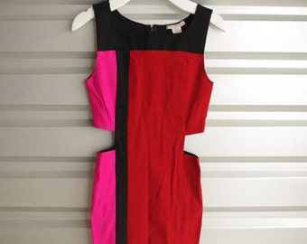 Vintage 80s Color Block Dress