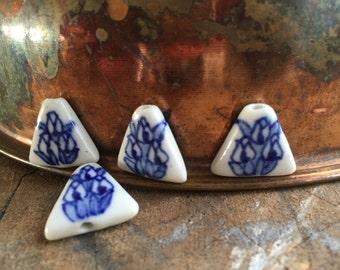 "2 Delft Blue triangle tulip beads 0.59"""