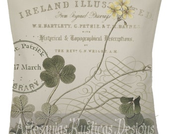 St. Patrick's Day Pillow 100% Cotton Canvas Burlap Irish Green Clover Shamrock Print English Throw Pillow Cover