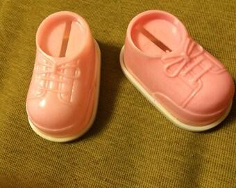 pink baby shoe bank