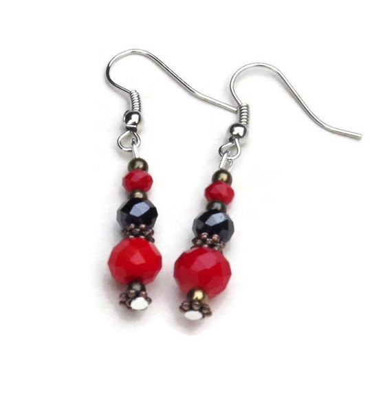 Sparkling Red Black Dangle Earrings Special Occasion Jewelry
