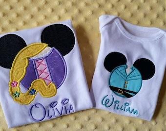 Rapunzel or Flynn Rider- Disney Mickey Mouse Ears Appliquéd Shirts or Onesies-- Girl/Princesses