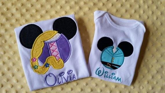 Rapunzel or Flynn Rider Disney Mickey Mouse Ears Appliquéd