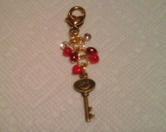Gold tone heart charm purse, phone, key chain or zipper pull