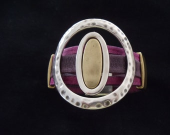 Handmade Three Strand Distressed Leather Cuff Bracelet With Silver Accents RM117
