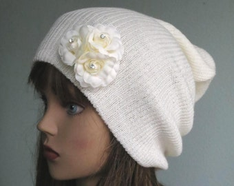 CLEARANCE Ivory Slouchy Knit Beanie Slouch Hat Knitting Slouchy Beanie
