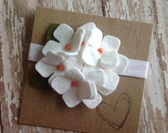 White Felt Flower Headband, Hydrangea, Newborn, Baby Headband