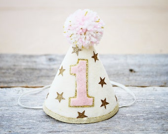 Girls 1st Birthday Twinkle Little Star Party Hat - Gold or Silver and Pink - Cake Smash
