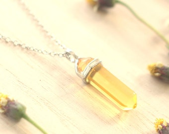 Yellow Citrine Crystal Point Pendant, Long Chain Silver-tone Necklace, Good Vibe Necklace, Positive Energy Necklace, Gift for mom