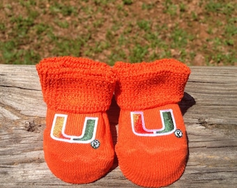 Miami hurricanes baby booties ready to ship!!